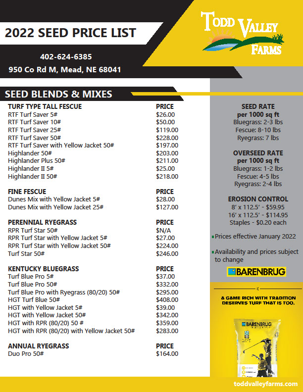 Seed Price List Todd Valley Farms